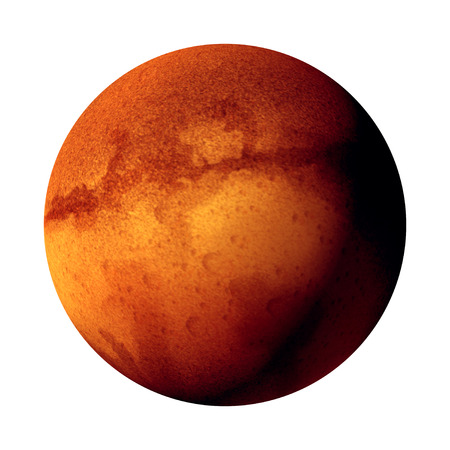 Mars isolated red planet as a 3D illustration concept on a white background. Stock Photo