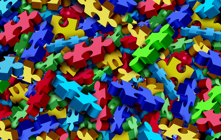 Autism background and childhood developmental disorder puzzle as an abstract symbol for autistic awareness as a group of jigsaw pieces as a 3D illustration.