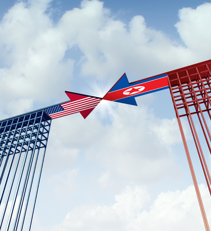 North Korea United States success agreement and diplomacy meeting between pyongyang and washington as an east asian crisis negotiation connection with 3D illustration elements.
