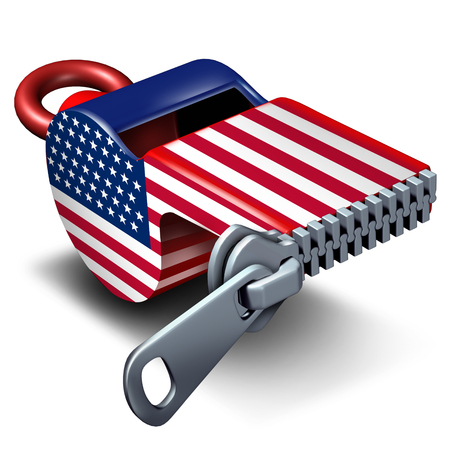 American freedom of the press and civil rights news or reporting restriction concept as a closed whistle with the United States flag as a 3D illustration.