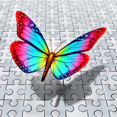 Autism spectrum symbol as a butterfly flying over a puzzle for autistic awareness as a 3D illustration.