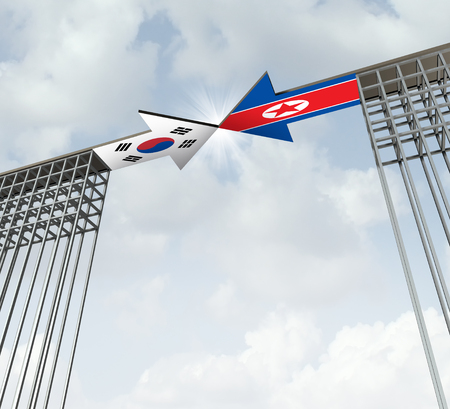 South and North Korea peace agreement diplomatic success concept as an east asia diplomacy symbol for denuclearization on the korean peninsula as a 3D illustration. Stock Photo