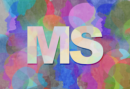 Multiple Sclerosis MS as a neurological disorder abstract symbol as text with people representing the patients of this nervous system disease in a 3D illustration style. Banco de Imagens