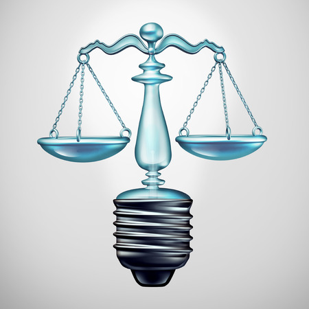 Law solution and legal ideas concept and judgement symbol as a light bulb justice scale as a metaphor for new legislation and lawyer ideas as a 3D illustration.