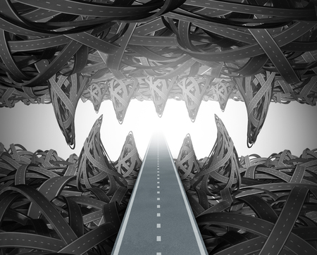 Escape from crisis business risk concept escaping from adversity and danger as a 3D illustration.