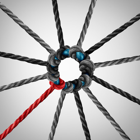 Standing out from the crowd leader concept as a business symbol for individual courage as ropes tied together. Stock Photo