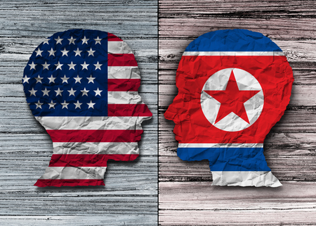 American and North Korean agreement and United States North Korea diplomacy agreement diplomatic meeting with pyongyang and washington in a 3D illustration style
