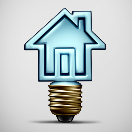 Home idea and house inspiration as a 3D illustration of a residential solution symbol with a lightbulb shaped as a residence. Stock Photo