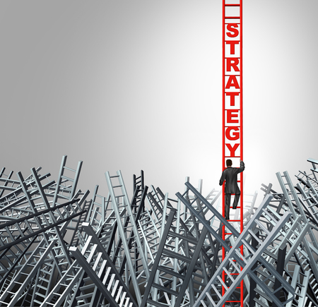 Business strategy concept with a businessman climbing a ladder with 3D illustration elements. Stock Photo
