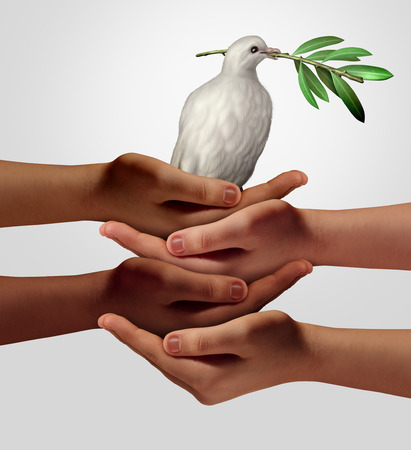 Diversity and diplomacy as humanity coming together to support peace anitiatives as ethnic cultural hands holding a dove as a team with
