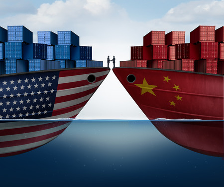 China United States trade agreement and American tariffs as two opposing cargo ships as an economic taxation dispute resolution over import and exports as a 3D illustration. Stock Photo