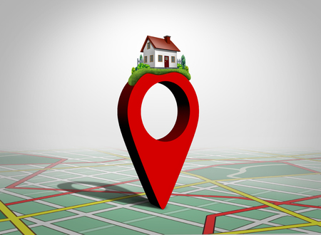 Finding a home and find property concept as a pin with a family house as a real estate buying or locating a residence symbol as a 3D illustration.