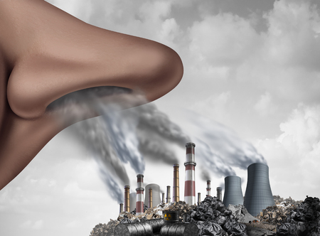 Breathing toxic pollutants inside the human body and inhaling pollution as a nose smelling industrial toxins with 3D illustration elements.