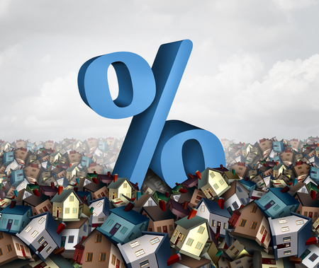 Home interest rates and housing bubble financing as a percentage sign in a flood of homes as a banking housing loan concept as a 3D illustration.