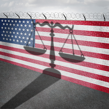 United States immigration law and US citizenship as a justice scale shadow on a border wall with 3D illustration elements.