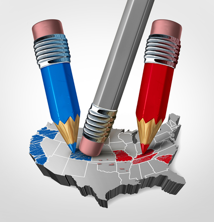 Election meddling in the United States and voting foreign interference in the USA as a 3D illustration.