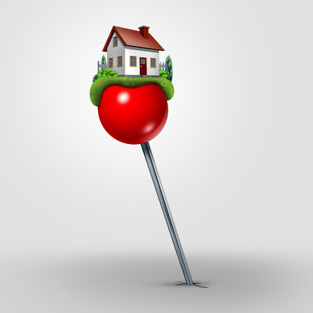 Home relocation and locating a house to buy or relocate to a new neighborhood as a real estate moving symbol as a location pin with a family residence as a 3D illustration. Stock Photo