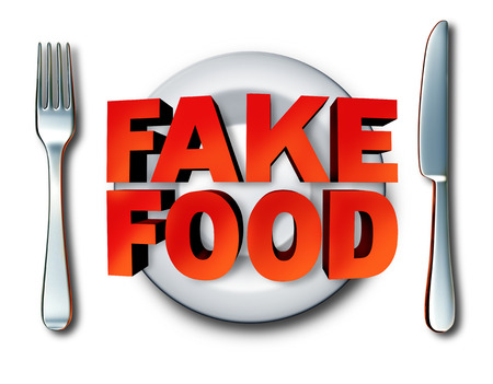 Fake food and counterfeit meal as a plate with fraudulent foods as ingredients fraud misrepresenting a product at the market as a 3D illustration. Stock Photo