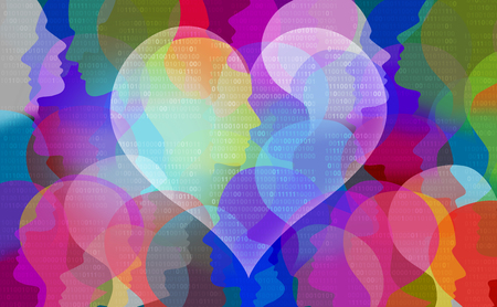 Dating online and internet love match concept as a technology application for relationships on the web in a 3D illustration style.