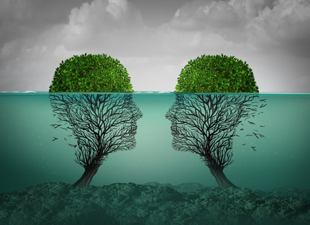 Sinking relationship and dying love concept as a couples therapy or marriage divorce and separation psychology concept with 3D illustration elements. Stock Illustration - 101534425