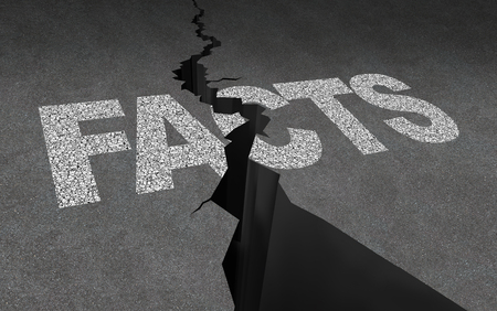 Broken facts and fake news concept as journalistic media reporting problem as text representing deceptive disinformation with 3D illustration elements.