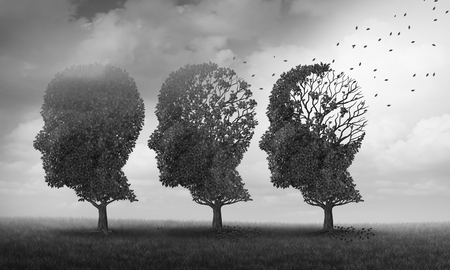 Concept of memory loss and brain aging due to dementia and alzheimers disease as a medical icon with fall trees shaped as a human head losing leaves with 3D illustration elements.