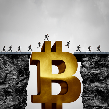 Bitcoin blockchain transfer concept and crypto currency opportunity business concept and cryptocurrency solution or digital money as a financial bridge symbol as a 3D illustration.bit,virtual money,gold,bit coin,
