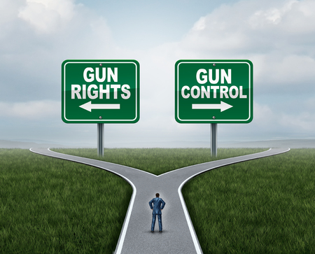 Gun control or guns control and second amendment United States debate as a government firearms federal or state law policy with 3D illustration elements.