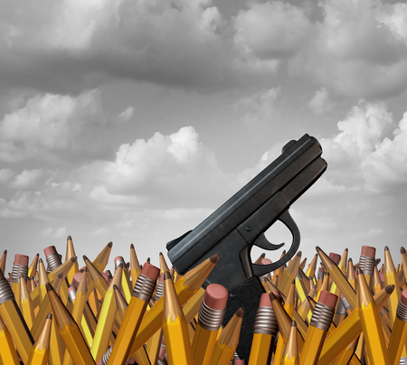 Shooting at schools concept as a group of pencils with a gun as a school hardening violence symbol and tragic and horrific gunfire icon as a 3D illustration. Stock Photo