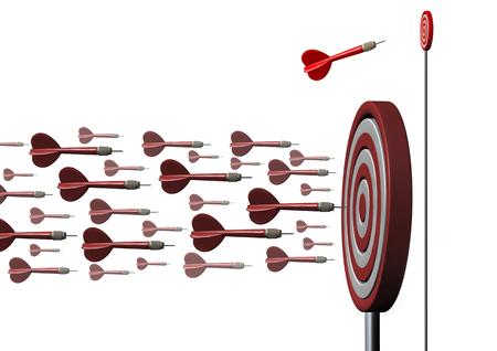 Concepto de nicho de mercado como marketing dirigido a empresas y especializándose en una oportunidad más pequeña como un dardo individual que va en un camino diferente como una metáfora de la planificación estratégica como una ilustración 3D.