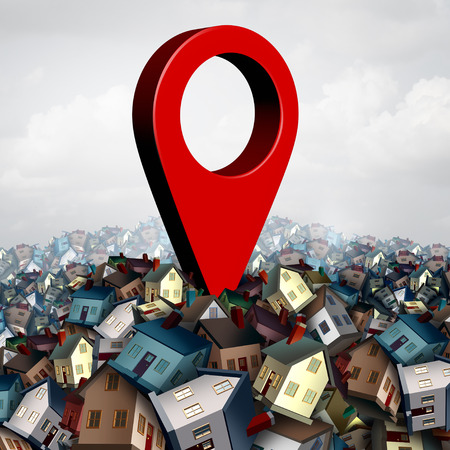 House search finding a home and find property concept as a pin on a group of family houses as a real estate buying or locating a residence symbol as a 3D illustration. Stock Photo