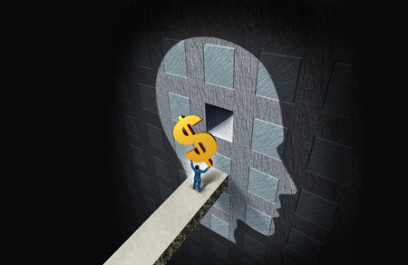 Business psychology concept and wealth thinking or financial education  and psychiatry or psychologist fees symbol with 3D illustration elements.