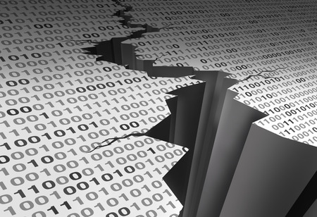 Data crack and damaged computer digital software code as a 3D illustration. Stock Photo