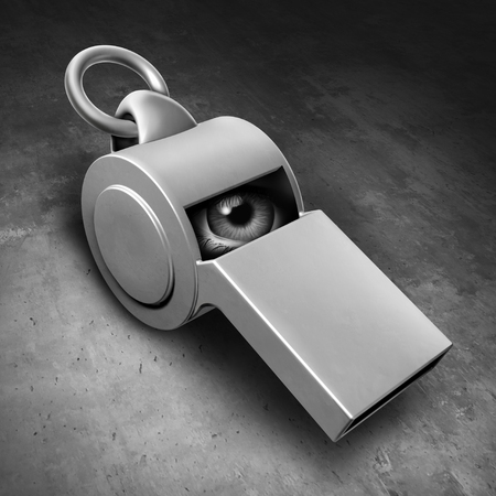 Secret informant as an imbedded spy or hidden whistle blower reporter or leaker of privileged information as a law enforcement symbol with 3D illustration elements.