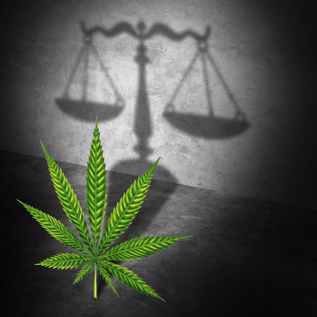 Legal marijuana law concept as a cannabis leaf casting a shadow of a justice scale as a medicinal or recreational drug legalization social issue with 3D illustration elements.