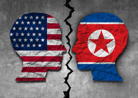 North Korean American challenge and North Korea United States problem diplomacy meeting between pyongyang and washington as an east asian negotiation connection in a 3D illustration style.