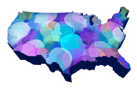 United States social media and american public networking data as the USA with a crowd of people as a 3D illustration isolated on white.