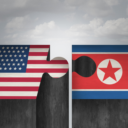 North Korea United States summit concept and American and North Korean agreement and diplomacy success as a diplomatic meeting with pyongyang and washington in a 3D illustration style.