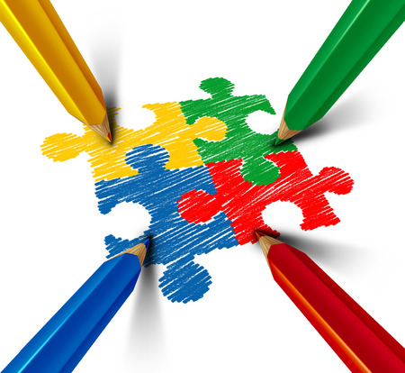 Autism awareness developmental disorder puzzle children symbol as an autistic symbol as jigsaw pieces being drawn with color pencil as a 3D illustration.