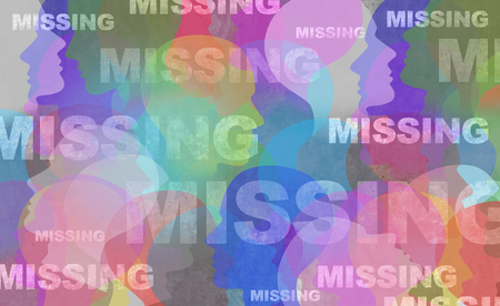 Missing person concept as people that have disappeared or runaway and abduction crime involving an individual symbol in a 3D illustration style.