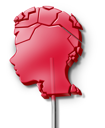 Child abuse symbol and domestic violence on children as a psychology concept or juvenile diabetes as a broken lollipop candy shaped as a head of a kid with 3D illustration elements.