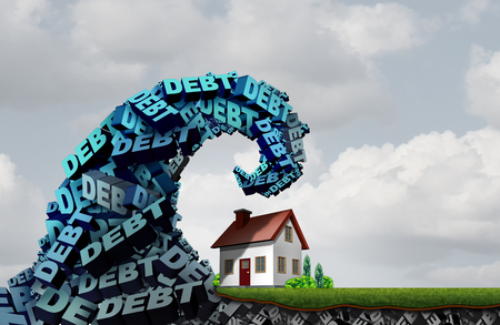 House debt home finances and credit problems challenge and economic family residence costs as a 3D illustration. Stock Photo