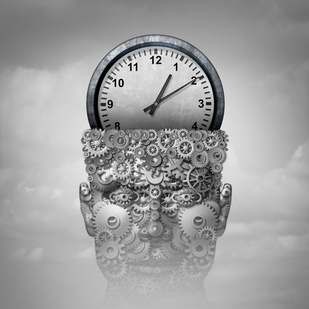 Time intelligence as a business marketing planning concept idea and corporate training education symbol as a clock object inside a human gear head communicating schedule plan as a 3D illustration. Stockfoto