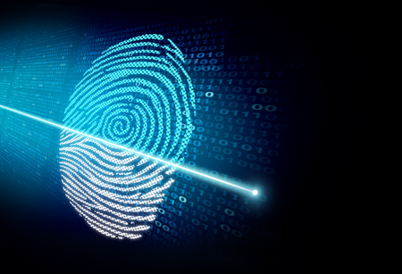 Security scan and cybersecurity authentication as a biometrics recognition and access technology concept in a 3D illustration style.