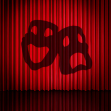 Theatre mask curtains as a drama performance stage concept with comedy and tragedy masks as a 3D illustration.