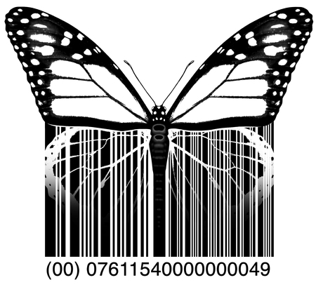 Environment business or environmental industry symbol and the green economy icon as a butterfly transforming to a product upc bar code with 3D illustration elements.