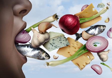 Alito cattivo e alitosi come odore sgradevole che esce dalla bocca come l'odore di pesce o formaggio con cipolle all'aglio in uno stile di illustrazione 3D. Archivio Fotografico