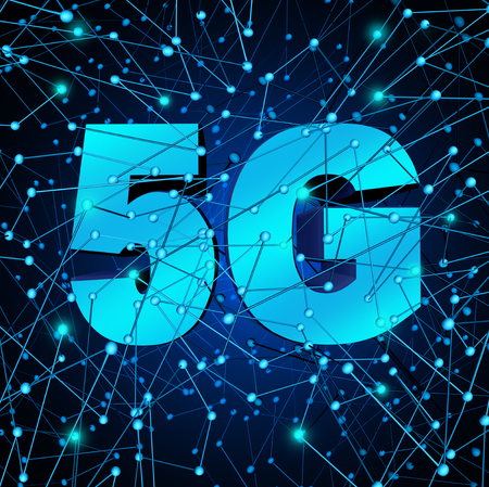 5G network wireless system as a fast telecommunication wifi cellular technology as a 3D illustration.