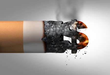 Cost of smoking cigarettes as a tobacco product shaped as a dollar sign as a financial budgeting expense and costs to health as a 3D illustration. Stock Photo