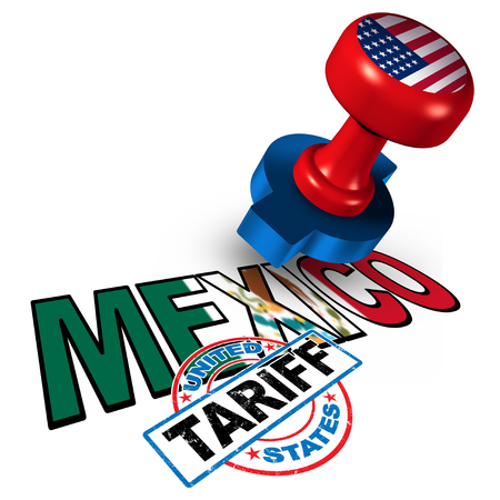 Mexico United States tariff on mexican steel and aluminum tariffs as a stamp on text as an economic trade taxation NAFTA dispute over import and exports concept with 3D illustration elements.